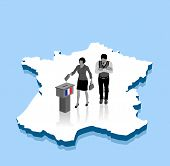 French Voters Are Voting For Election Over A France 3d Map. All The Objects, Shadows And Background  poster