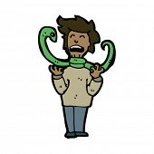 snake strangling man cartoon