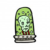 image of mad scientist  - head in a jar cartoon - JPG