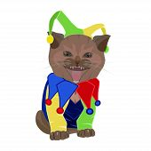 Cute Funny Kitten In April Fools Day Hat. Happy Smiling Cat In Jester Costume. Joker Playing Card Ca poster