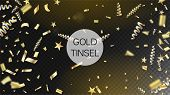Modern Gold Explosion, Stars, Streamers, Tinsel Burst. Horizontal Bright Streamers Background. Cool  poster