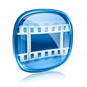 Film Icon Blue Glass, Isolated On White Background.