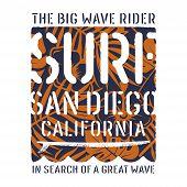 Surfing Artwork. California Surfing T-shirt Design. Vintage Graphic Tee. Vectors poster