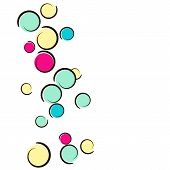 Comic Background With Pop Art Polka Dot Confetti. Big Colored Spots, Spirals And Circles On White. V poster