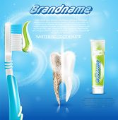 Extra Toothpaste Whitening Healthy Teeth Concept. Banner Vector Realistic Illustration 3d Clean Heal poster