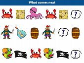 What Comes Next Educational Game For Children. Set Of Cartoon Pirate Characters. Vector Illustration poster