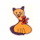 Kitty Decorative Stylized Doodle Cartoon With A Freehand Contour poster