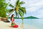 Tahiti Bora Bora French Polynesia Beach Vacation Travel Holidays. Woman relaxing sitting down on par poster