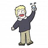 happy cartoon man drinking