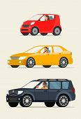 Red сompact City Car, Red Sedan Car And Black Suv Car. Vector Flat Illustration poster