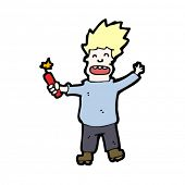 cartoon madman with stick of dynamite