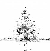 Abstract Splash Water Background With Splashes In The Form Of Christmas Trees Isolated On White Back poster