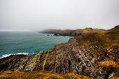 Irish coastline cliff landscape fog