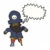image of peg-leg  - cartoon pirate captain with peg leg and speech bubble - JPG