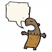 Cartoon Stammesangehörige mit Sprechblase
