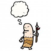cartoon tribesman with spear and thought bubble