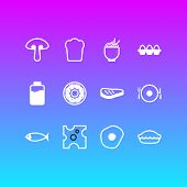 Illustration Of 12 Eating Icons Line Style. Editable Set Of Spaghetti, Fish, Lactose And Other Icon  poster