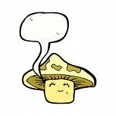 cartoon happy toadstool with speech bubble