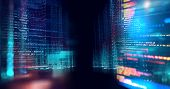 Digital City Scape With Digit Number Elements Illustration poster