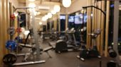 Abstract Blur Gym And Fitness Interior Room For Background, Fitness Gym Background. Product Display  poster