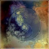 Glass Yin Yang Symbol On Abstract Background