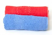 Rolled Red And Blue Towels
