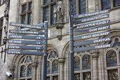 Touristic Street Signs In Leuven, Belgium