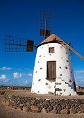 Fuerteventura, molino de viento cerca de El Cotillo, luz del día