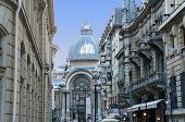 stock photo of foreshortening  - Foreshortening view of the CEC Palace in Bucharest seen from the Stavropoleos street - JPG
