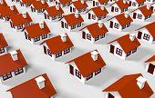 3D casas alinhadas