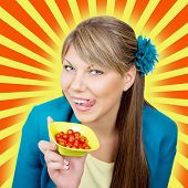 Happy woman with cherry tomato salad