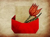 Envelope With Tulip Grunge Background