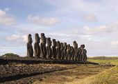 The famous fifteen  moai at Ahu Tongariki, Easter Island