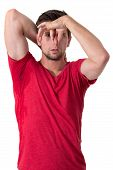 Man Sweating Very Badly Under Armpit And Holding Nose
