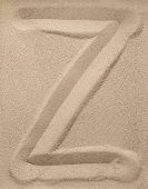 Letter Z from sand