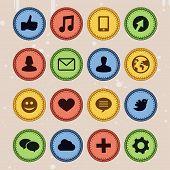 Set Of Social Media Badges In Vintage Style -