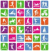 image of glyphs  - Vector collection with 36 sport icons  - JPG
