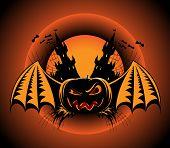 Haloween Label With Pumpkin