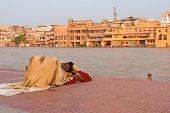 Poor Indian Man Sleeping Outdoors Haridwar Ganges