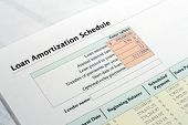 foto of amortization  - This is a close up image of a loan amortization schedule.