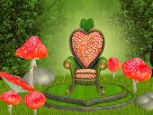 stock photo of magical-mushroom  - Illustration of a magical throne in a fairy forest - JPG