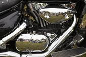 Bike Chromed Powerful Motor Are Reflecting People