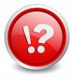 Attention ask red button - design web icon