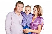 A Happy Family With Baby Boy On White Background