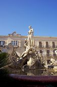 stock photo of artemis  - View of Fountain Of Artemis in Syracuse - JPG