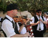 Three Musicians Outside The Western Wall Jerusalem