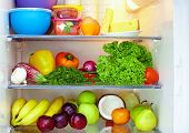 stock photo of red meat  - refrigerator full of healthy food - JPG