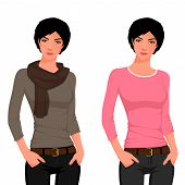 Illustration of a beautiful teenage girl in casual clothes