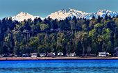 stock photo of olympic mountains  - Bainbridge Island Puget Sound Snow Mountains Olympic National Park Washington State Pacific Northwest - JPG