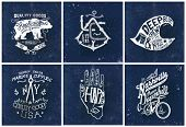stock photo of high-quality  - handmade illustration Sailor college bicycle set collection - JPG